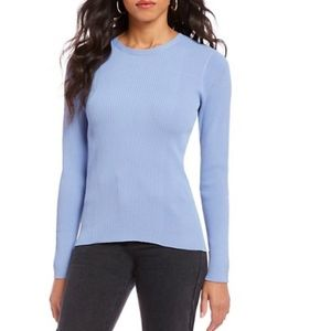 Gianni Bini Blue Ribbed Long Sleeve Top